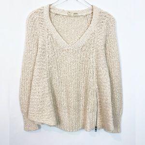 MOTH Cream Knit Pullover V Neck Zip Hem Alpaca